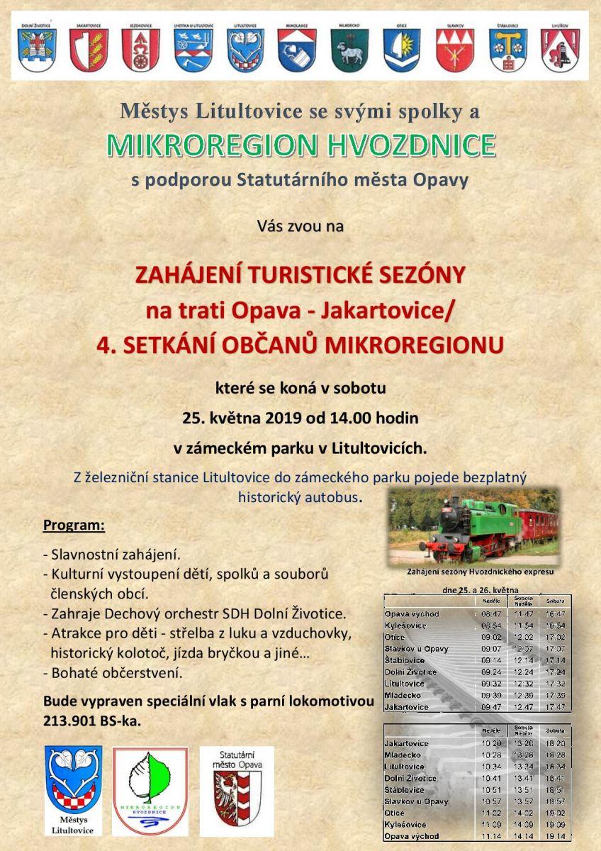 Zahjen turistick sezny na trati Opava - Jakartovice